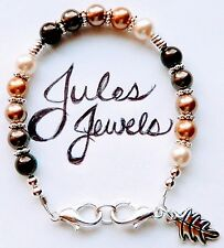 "Top Brand Crystal Pearls ""Browns"" Medical Alert ID Bracelet. Pretty!"