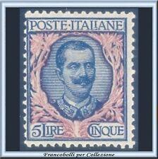 1901 Italia Regno Floreale Lire 5 azzurro e rosa n. 78 Nuovo Integro **