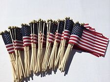 100 TOTAL 4X6 INCH US MADE AMERICAN HAND HELD STICK FLAGS WITH SAFETY BALL TIPS