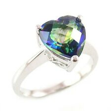 Genuine 2.6 ctw. Heart Mystic Blue Topaz SSilver Ring-Sz 8