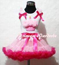 Light Hot Pink Pettiskirt Skirt White Top Light Pink Birthday Cupcake Set 1-8Y