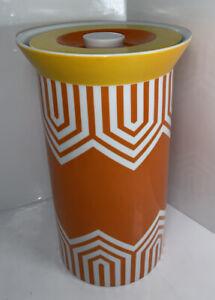 "Jonathan Adler Happy Chic Tall Canister Orange & Yellow Mad Mod 10"" Jar w/ Lid"