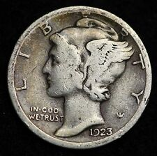 1923-S MERCURY DIME / CIRCULATED GRADE GOOD / VERY GOOD 90% SILVER COIN