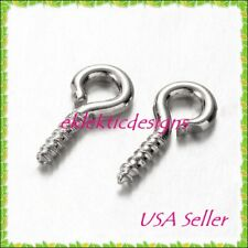 100pcs Antique Silver Plated Bead Pendant Pin Bail Eye Screws Tips 8x4 Findings