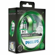 2x Green H7 Headlight Bulbs PHILIPS 12972CVPGS2 ColorVision 12V 55W PX26d
