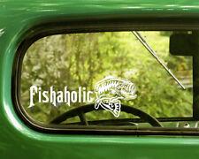 2 Bass Fishaholic Fishing Decals Sticker For Car Window Bumper Rv Jeep Truck