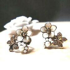 Gold Pearl Butterfly Earrings Butterflies Insect Post Insect Plated USA