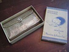 Vintage Art Deco Whiting & Davis Silver Mesh Purse Evening Bag Rhinestone Clasp