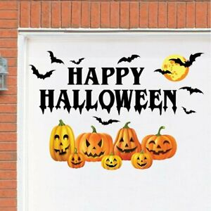 """""""HAPPY HALLOWEEN"""" Spooky Jack-O-Lanterns & Bats Garage Door Cover Magnets"""