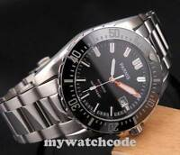 43mm PARNIS black dial date Sapphire glass 20atm automatic diving mens watch