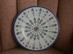 "Spal Anthropologie Porcelain 8.5"" Plate Geometric Blue & Gold Portugal Mint"