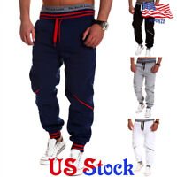 Mens Sport Pants Long Tracksuit Gym Fitness Workout Joggers Sweatpants Trousers