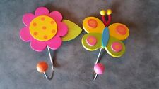 Pair of Children's Wall Hooks, Butterfly and Flower