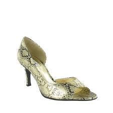 Ladies Metallic Snake Print Open Toe Shoe - Gold & Silver