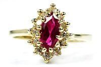 Women's Lab Ruby & Simulated Diamond Round Gemstone Ring 14k Solid Yellow Gold