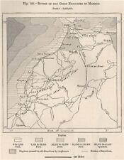 I percorsi del capo esploratori in Marocco. Marocco 1885 VECCHIO ANTICO MAPPA Grafico