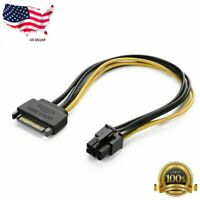 New SATA 15 Pin Male M to PCI-e Express 6 Pin Female F Video Card Power Cable