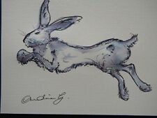 Original hand drawn pen & ink wash drawing of a hare or rabbit jumping leaping