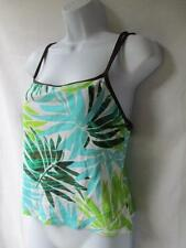 Nautica Tropical Flora Tankini Top White Green Aqua Blue Brown Shelf Bra Size 10