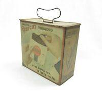 Antique Lorillard's REDICUT Tobacco Tin Lunch Box w/ Original Latch Metal Handle