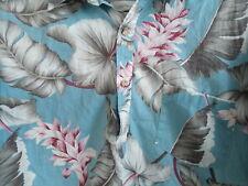 Men's Cotton Polo Pullover Blue HAWAII Hawaiian Flower Vacation Beach SHIRT NICE