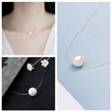 Elegant Women Invisible Fishing Line Pearl Clavicle Pendant Necklace Jewelry