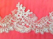 1 metre off white & silver embroidered lace net trim tutu dance wedding bridal