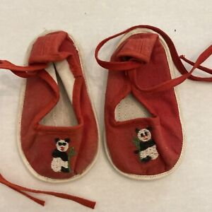Vintage Canvas Baby Toddler Shoes Red with Embroidered Panda China