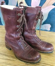 Vintage Authentic Ugg Australia Lace Up Brown Shearing Lined Leather Boots 7