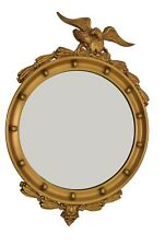 "Vintage Gold Round Mirror 21"" Federal Eagle Ornate Wood Frame"