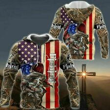 NEW Fishing Camo US Flag 3D Hoodie Custom Name Best Price US Size Dad Gift