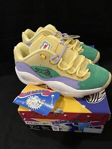 """Iverson Question Low BBC X ICECREAM Yellow Lilac Glow """"Running Dog"""" DS Sz 8.5"""