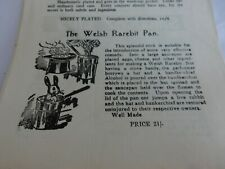1950s Magic Tricks 4 page pamphlet . Welsh Rarebit Trick Rabbit Torture !