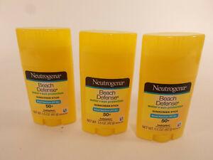 (3)Neutrogena Beach Defense Water + Sun BarrierSunscreen SPF 50+ 1.5oz. EX 2/20