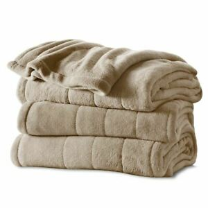 Sunbeam QUEEN Size Heated Microplush Electric Blanket Mushroom BEIGE Dial Contro