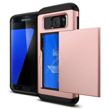 Rose Gold Credit Card Holder Shockproof Case Cover For Samsung Galaxy S7 Edge