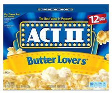 NEW SEALED ACT II BUTTER LOVERS 12 BAGS  33.01 OZ MICROWAVE POPCORN