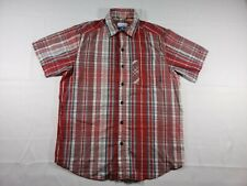 Columbia Red Mens Size Small Plaid Short Sleeve Shirt in good condition