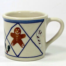 Hartstone Pottery CHRISTMAS TRADITIONS 14oz Mug Cup Blue Lattice Gingerbread Man