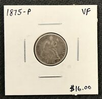 1875-P U.S. SEATED LIBERTY DIME ~ VF CONDITION! $2.95 MAX SHIPPING! C1742