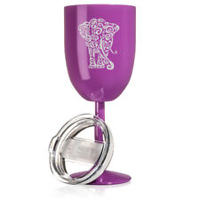 Wine Tumbler Glass Double Wall Vacuum Insulated Stainless Steel Tribal Elephant