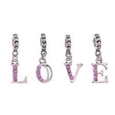 "8 Mixte Pendentifs Charms Alphabet ""LOVE"" Strass Rose pr Bracelet Charms 28x9mm"