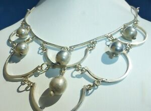 GORGEOUS Vintage Mexico STERLING SILVER 925 DANGLE BALL NECKLACE Beautiful on