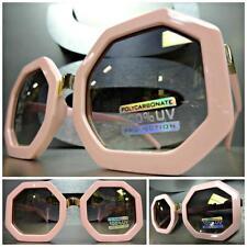CLASSIC VINTAGE 70s RETRO Style SUNGLASSES Pink Octagon Frame Bronze Mirror Lens