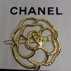 ❤️CHANEL Camellia Authentic hair pin barrette with golden CHANEL logo