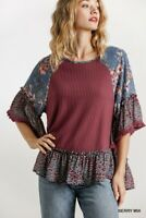 Umgee Floral & Animal Print Waffle Knit Bell Sleeve Top Size S M