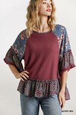 Umgee Bohemian Floral & Animal Print Waffle Knit Top