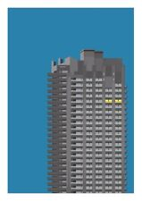 Barbican Tower II graphic design giclée print size A3