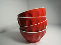 Set (4) Red Cereal / Ice Cream Bowls - Ribbed Edge - White Interior - Modern