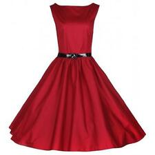 LINDY BOP NEW VINTAGE 50'S STYLE AUDREY RED ROCKABILLY PARTY DRESS SIZE 12